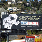 Newsreaders Astronauts in space How do they poop billboard