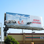 Absolut Greyhound dogs billboard installation LA