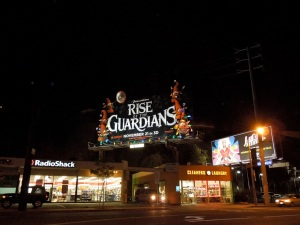 Rise Guardians Christmas lights billboard installation Sunset Strip